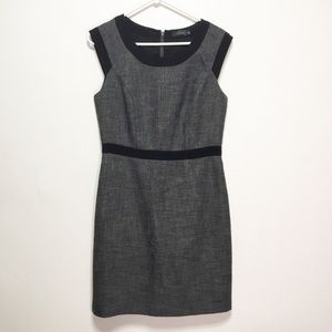 The Limited Black and White Tweed Midi Dress